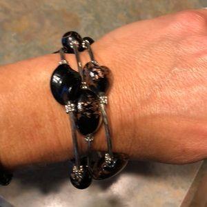 Silver black & brown wrap bracelet New